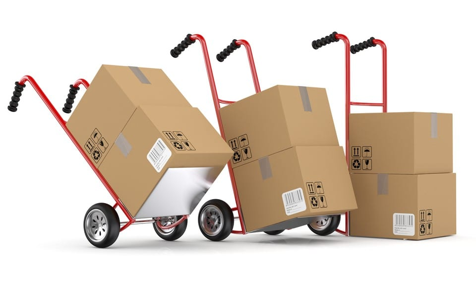 Moving boxes on dollies